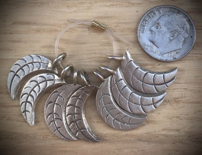 7 Hill Tribe Silver Crescent Moon Leaf Charms / Pendants