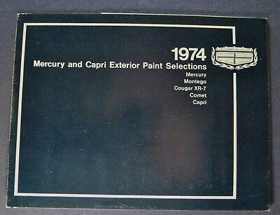 1974 Mercury Paint Chip Colors Brochure Marquis Cougar Montego Comet Capri 74