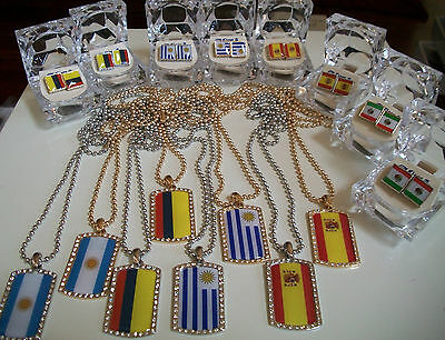 Silver/Gold Finish Country Flag Dog tags with Complementary Chain & Earrings ()
