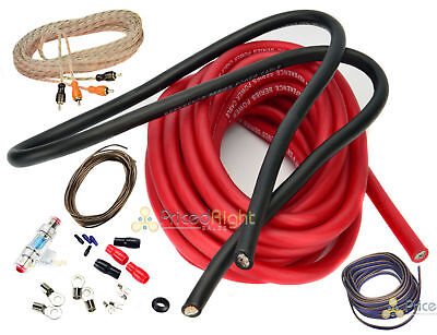 - 4 Gauge Amp Kit Amplifier Installation Power Wiring Complete Red Cable Car Audio