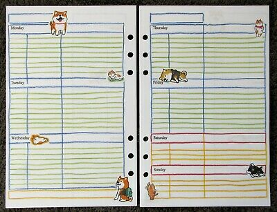 WEEKLY Undated Refill for A5 6-Ring Planner Organizer Insert Dog/Cat 6-ring-planner Refill