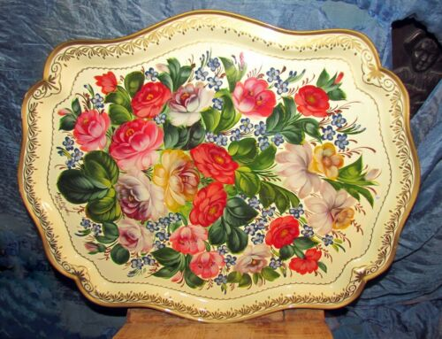vintage hand painted russian tole tray flowers and leaves gold accents
