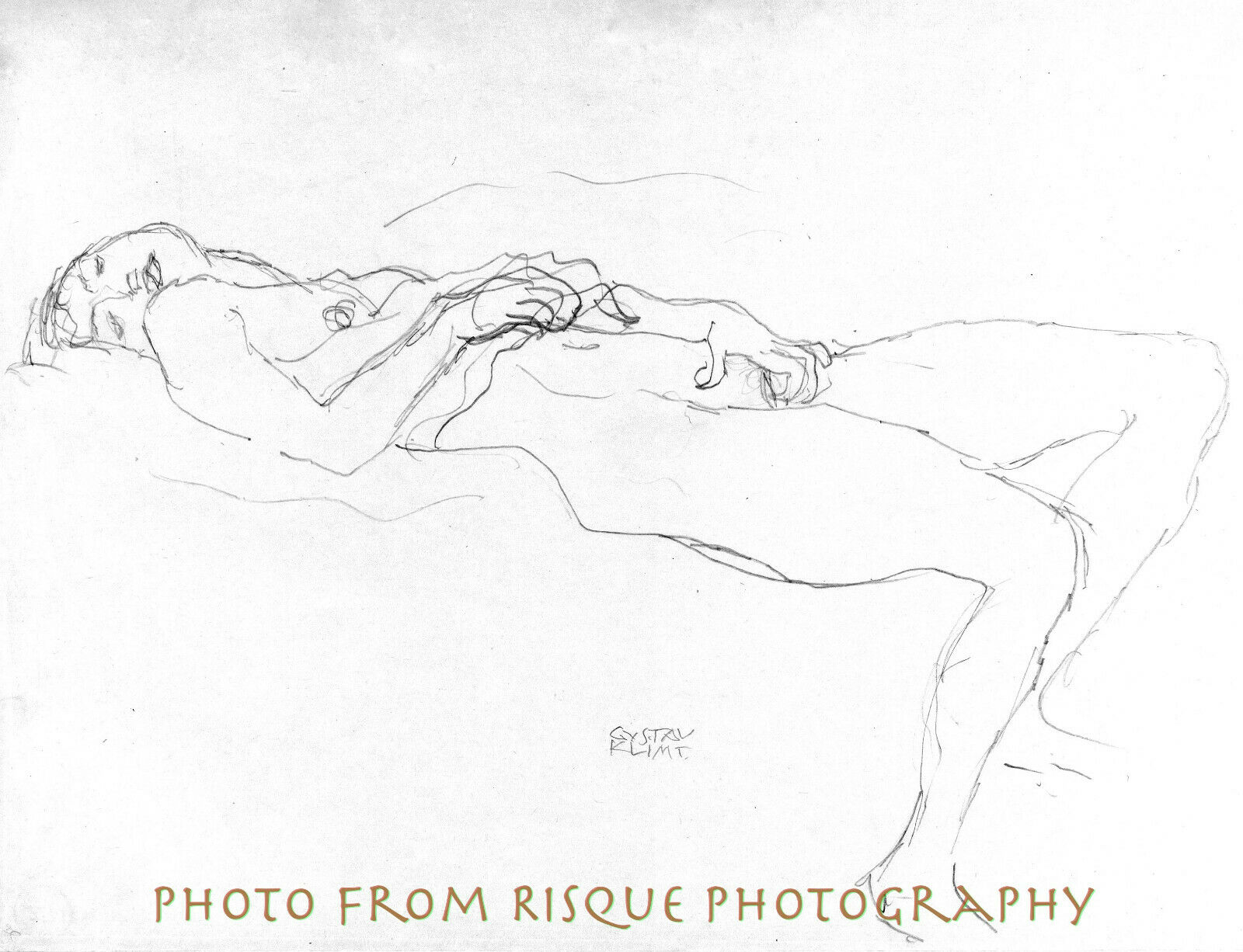 Details about nude woman pencil drawing 8 5x11 photo print gustav klimt fine art naked sketch