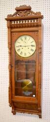Antique Ansonia Santa Fe Oak Weight Driven Wall Regulator Clock: TO... Lot 212