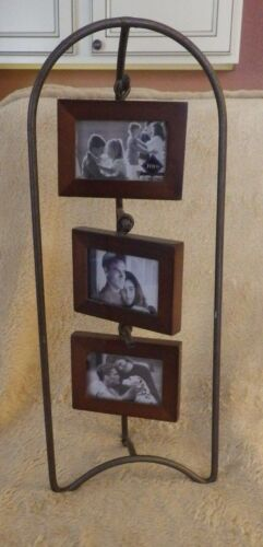 """Felco International Wood Wooden Metal Picture Frame Holds 3"""" Photo"""