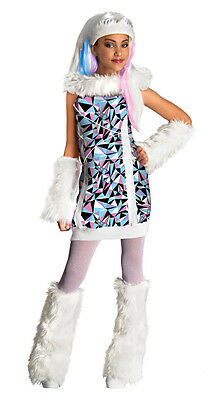 Girls Abbey Bominable Monster High Halloween Costume Abby Fancy Dress S M L Kids