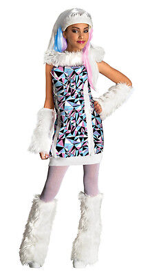 Monster High Childrens Costumes (Girls Abbey Bominable Monster High Halloween Costume Abby Fancy Dress S M L)