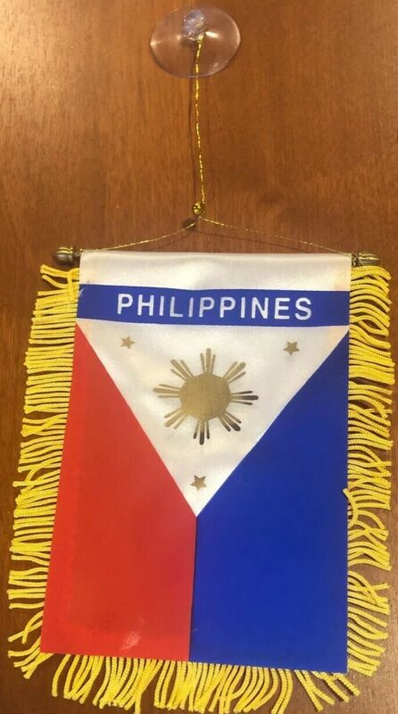 "Philippines 🇵🇭 4 X 6"" MINI BANNER FLAG CAR WINDOW MIRROR HANGING W Suction"