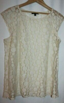 Saks Fifth Avenue M Cream/Ivory Sheer Dot Mesh Lace Cap Sleeve Layering Top