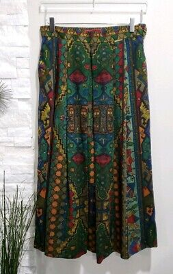 Geiger Collections Geometric Green Multi Color Pleated Long Skirt Women Size 40 Multi Pleated Skirt