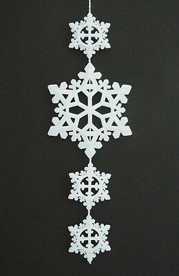 White Milk Glass Plastic Snowflakes Christmas Ornaments Hanging Dangling Drop - White Plastic Snowflakes