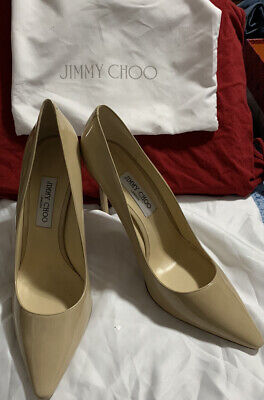 Jimmy Choo Womens Patent Leather Pointed Toe Pumps Beige Size 42 Size 12