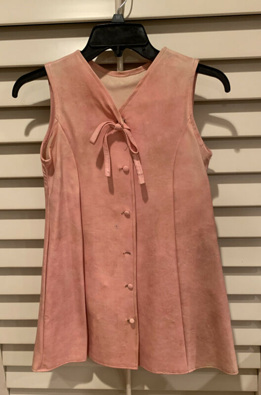 Vintage 60s Pink Leather Sleeveless Jumper with buttons & Tie