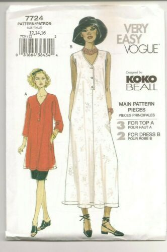 VTG Vogue Easy 7724 Sewing Pattern Koko Beall Dress Top Skirt 12,14,16 Uncut FF