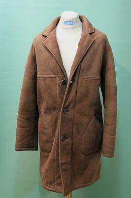 Orig vintage Lamm-Fell Mantel shearling ca 52/L Kürschner echt Leder braun Herr