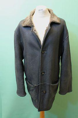 Don Gil Lamm Fell Mantel Herren Gr 54 / XL echt Leder Zarenmantel shearling grün