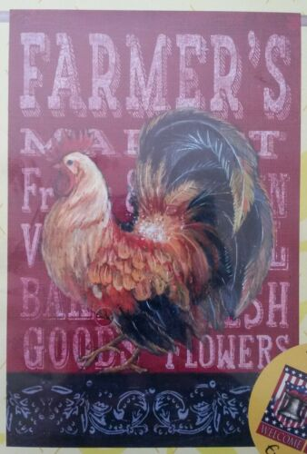 Evergreen Yard Flag 2 Sided Outdoor Decorative Roosters Farm