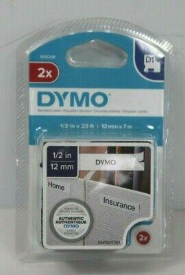 New Dymo D1 45013 Black-on-white Tape 12 X 23 Pack Of 2 Standard Labels