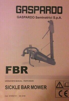 Gallardo Fbr Rear Mounted 3-point Hitch Sickle Bar Mower Owner Parts Manual