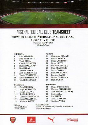 Arsenal v Porto 8/5/2018 Premier League International Cup Final programme