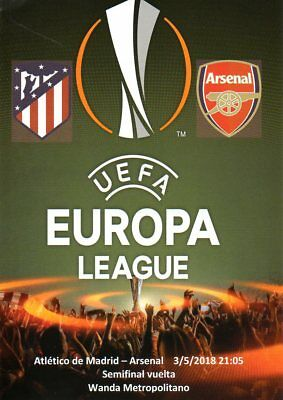 Atletico Madrid v Arsenal 3/5/2018 Europa Cup Semi-Final stadium programme