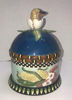 House of Hatten Peggy Fairfax Herrick Hatched Bird Covered Plate Cloche Painted
