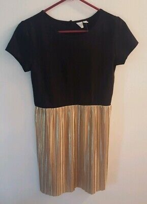 Girls GAP Kids Black & Gold Short Sleeve Dress Size 14-16 Regular New With Tags!