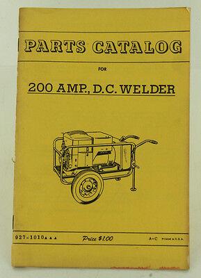 Vintage Onan 200 Amp D.c. Welder Parts Catalog
