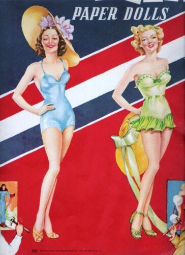 VINTAGE UNCUT 1945 PIN-UP GIRLS/ARTIST MODELS PAPER DOLLS~#1 REPRODUCTION~SCARCE