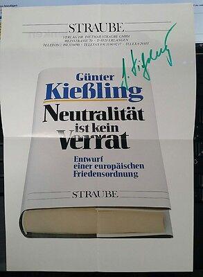 General Günter Kiesling Autograph Autogramm auf Werbeprospekt A4 gefaltet