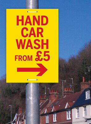CAR WASH SIGN LAMP POST SIGN PAVEMENT SIGN PRINTED WITH YOUR DETAILS OR MESSAGE