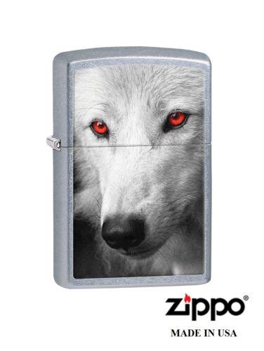Zippo Lighter Wolf Red Eyes chrome Windproof lifetime guarantee  28877