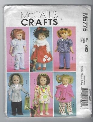 "NEW MCCALLS 5775 CLOTHES FOR 18"" DOLL & 7"" TOY DOG PATTERN DRESS TOP PANTS UNCUT"