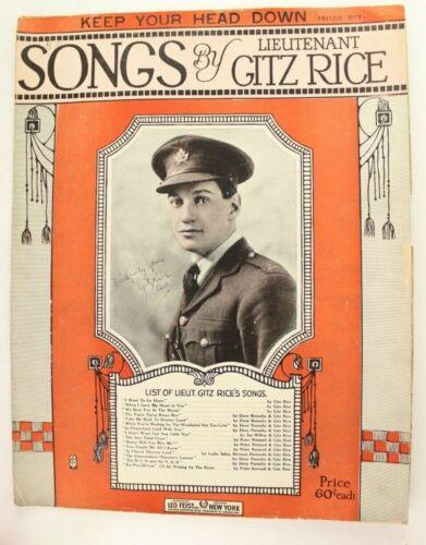 1918 Keep Your Head Down Fritzie Boy WWI Sheet Music Lt Gitz Rice