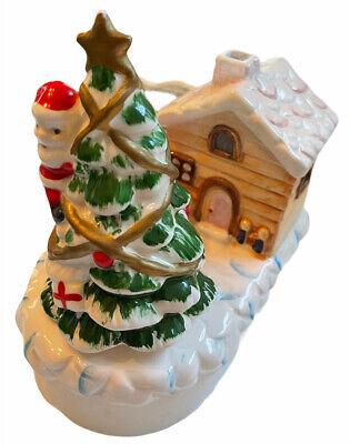 """Vintage Ceramic Light Up Christmas Tree With Santa Music Box """"White Christmas"""""""