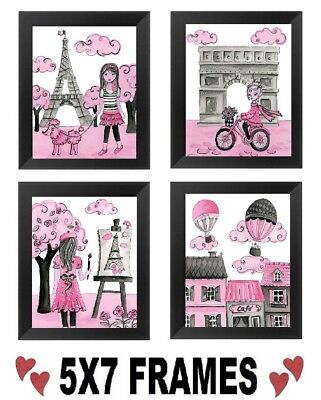 💗 5x7 Pink Paris Pictures Eiffel Tower Poodle France Wall (Pink Eiffel Tower)