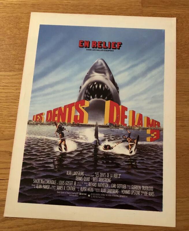 JAWS 3 3D Film Cinema RARE Original Promo POSTER Press Sheet Dennis QUAID 1982