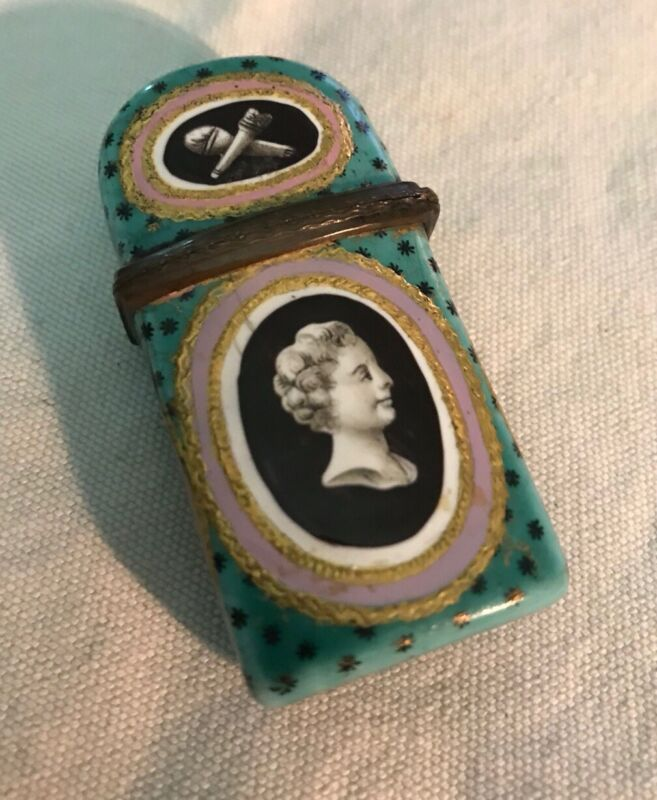 ANTIQUE 18th CENTURY BATTERSEA and BILSTON  ENAMEL HINGED BOX