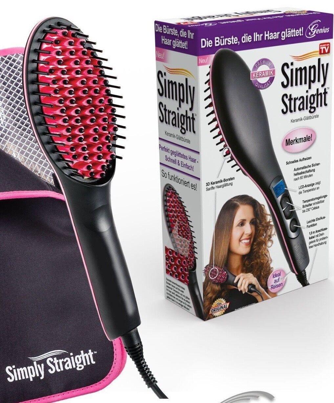 Genius Glättbürste Simply Straight Haarglätter Glättbürste Stylingbürste  Tasche