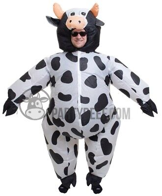 Birthday Suit Halloween Costumes (Inflatable Cow Costume Fat Blow Up Suit for Halloween Birthday Party USA)