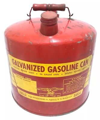 Eagle 5 Gallon The Gasser 5055 Galvanized Metal Gas Gasoline Can Vtg Decor Us