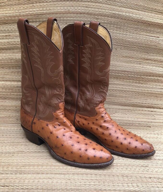 Justin, Boots, Mens, Full, Quill, Ostrich, Cowboy, Western, Size, 11D, USA, Cognac, 8925