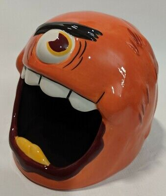 Monster Madness Candy Bowl Ceramic Halloween Candy Bowl one eyed orange ghoul