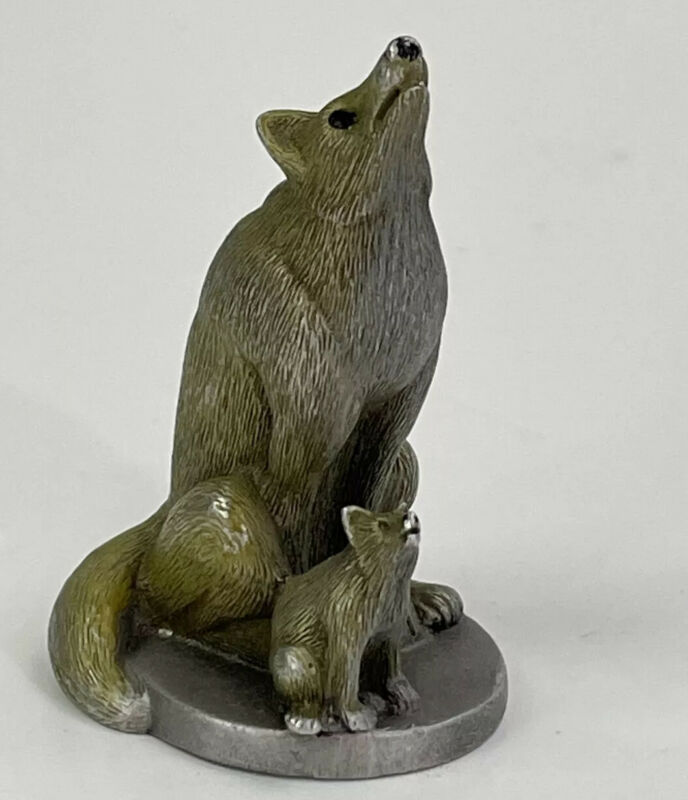 Pewter Coyote and pup collectible figurine Heller 1981 Animal Figurines