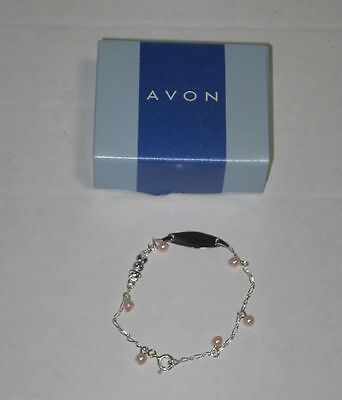 Avon Children's Pink Engraveable ID Bracelet Sterling Silver Girls Pink 2001
