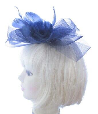 Azul Marino Malla Y Pluma Peineta Tocado Mujer Boda Royal Ascot