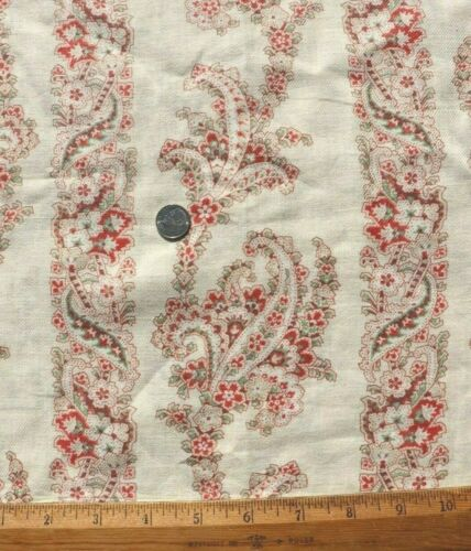 """Antique American c1890 Pale Yellow Printed Paisley Cashmere Wool Fabric~34""""X26"""""""