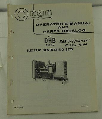 Vintage Onan Dhb Series Generator Genset Operators Manual Parts Catalog