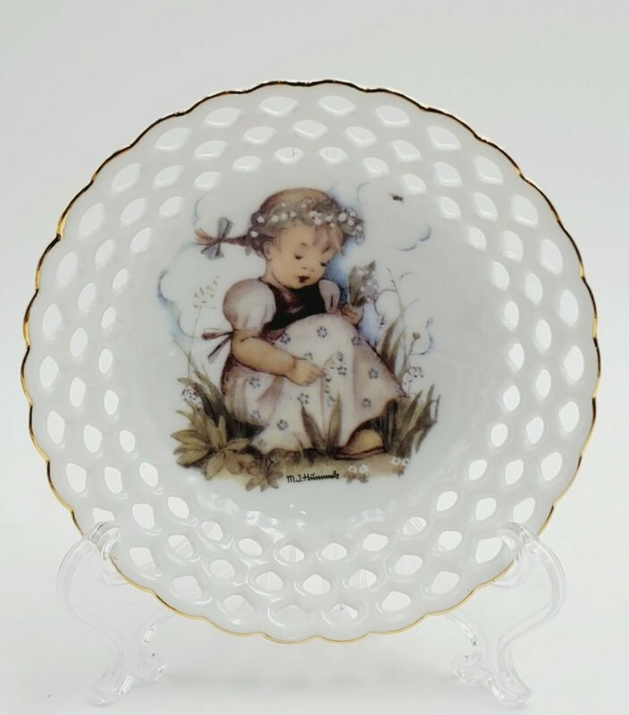 """M.J. Hummel Reutter Porcelain Maiglockchen """"Lily of the Valley""""Lace Dish Germany"""