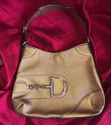 Vintage Gucci Gold Purse Leather Grain Gold Horseshoe Hardware DustBag RARE